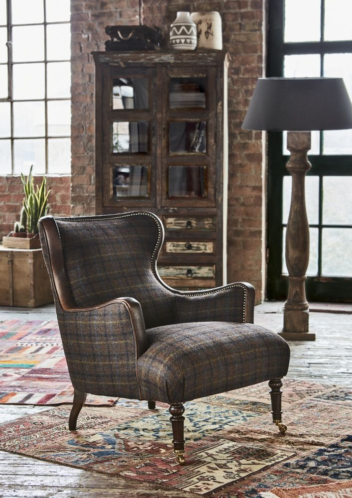 upholstered in harris tweed, our tetrad nairn chairs features