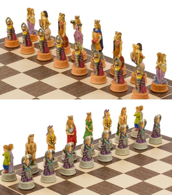 The Zodiac hand painted Italian themed chess pieces by Italfama