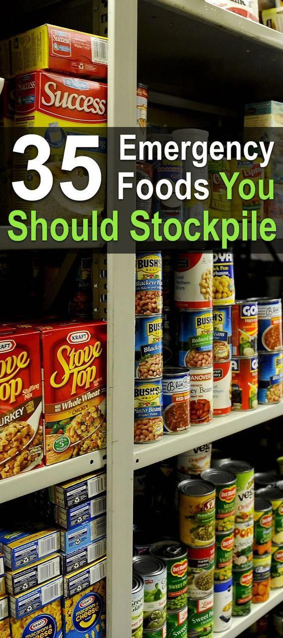 Here you'll find a list of 35 emergency foods you should be stockpiling. With all of these foods on hand, you'll be eating well no matter what happens. #survivalcooking