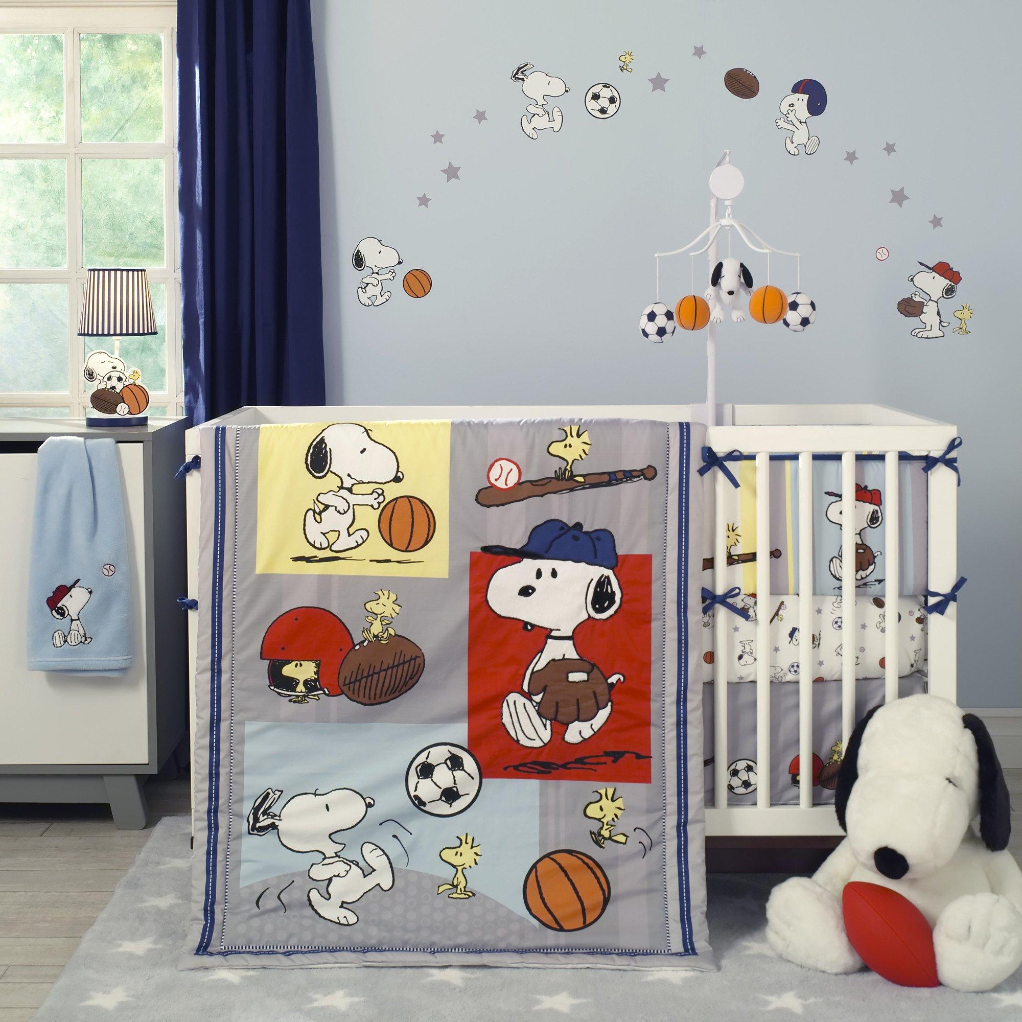 Snoopy Sports Gray Blue Yellow Red 3 Piece Nursery Baby Crib