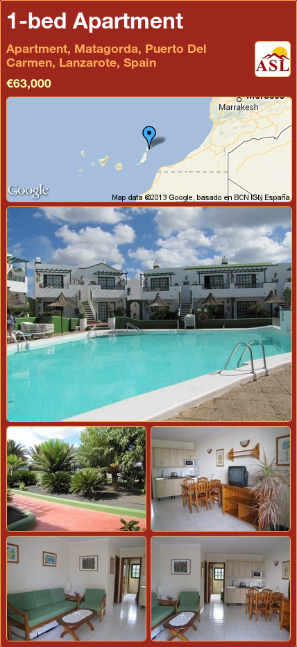 1 Bed Apartment In Apartments Playa Pocillos Matagorda Lanzarote Spain 63 000 Propertyforinspain
