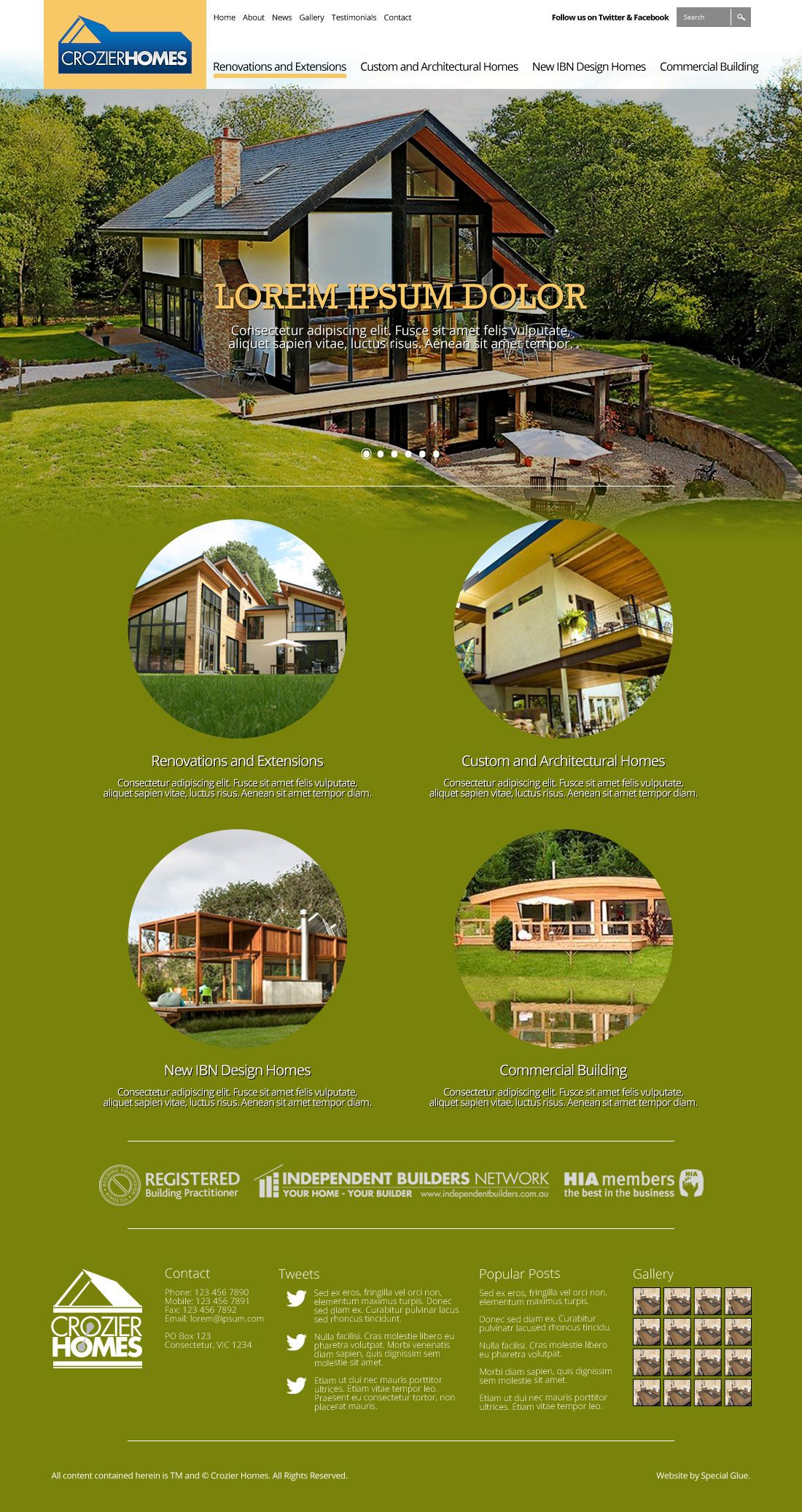 Website design for Crozier Homes.