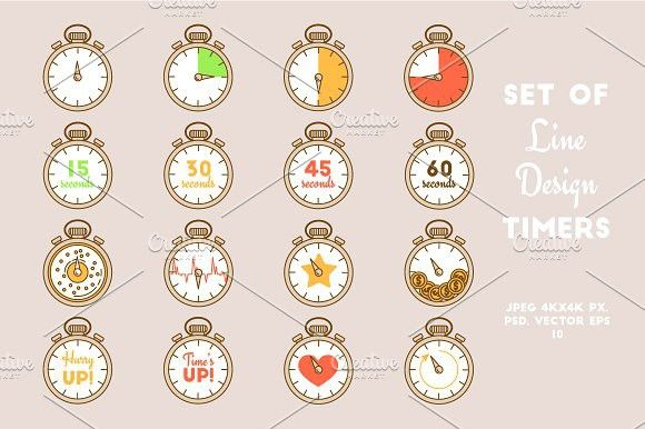 Vector line set of timers. Objects. $5.00