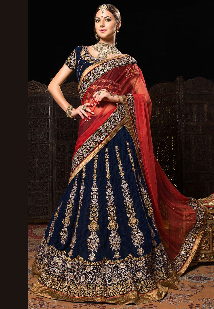 e1b82e29b96ca0 Dark Blue Velvet Lehenga Choli with Dupatta: LFU111 | Indian Fashion ...