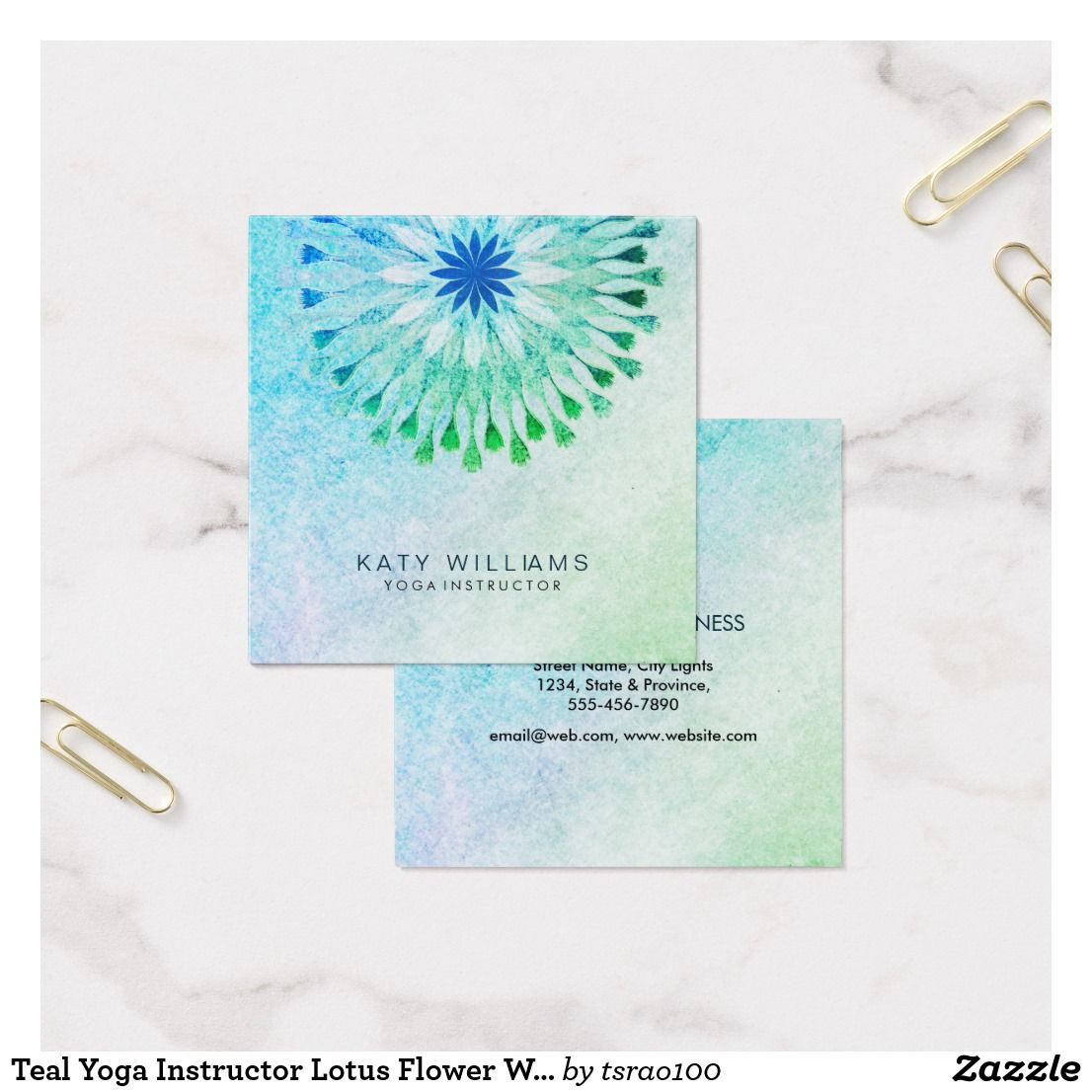 Teal Yoga Instructor Lotus Flower Watercolor Beach Square Business