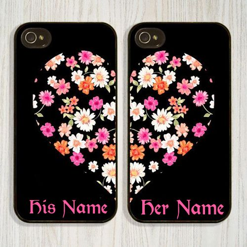 Write Name On Flower Print Heart Shape Mobile Cover Your Beautiful