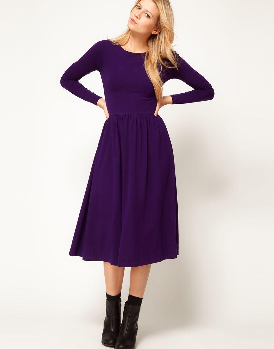 dba4275ac104 Purple Midi Dress Long Sleeve