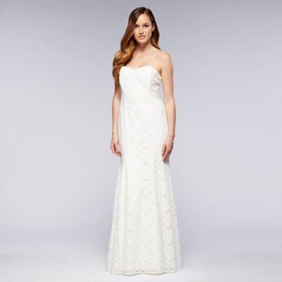 Ivory Strapless Lace Bridal Dress At Debenhams Com Dresses Bridal Dresses Lace Wedding Dress Sizes