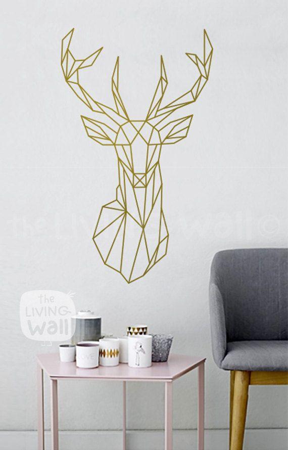 geometric deer head decal geometric animal stickers, deer head