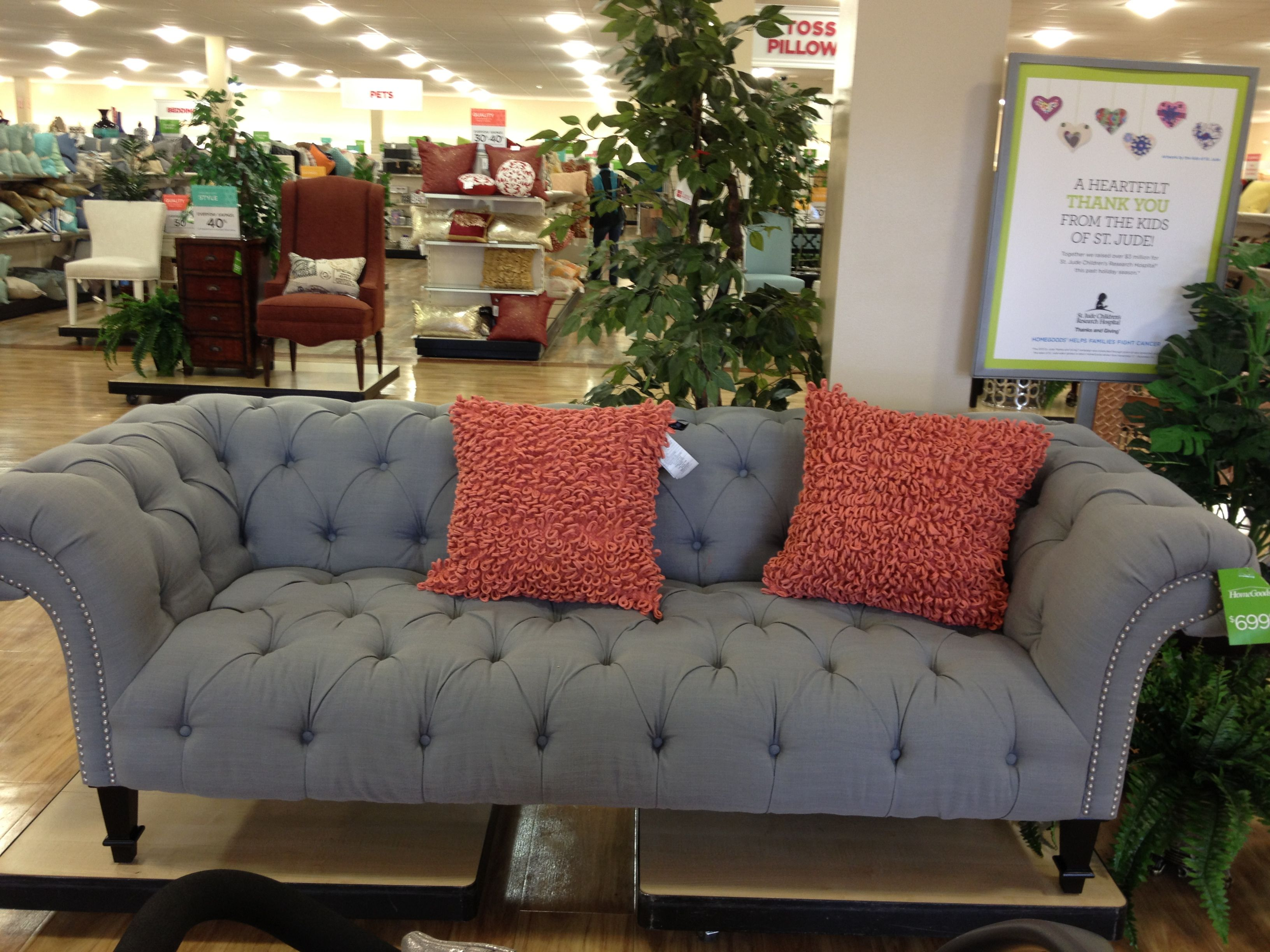 Tufted couch $699 home goods Shopping Notes