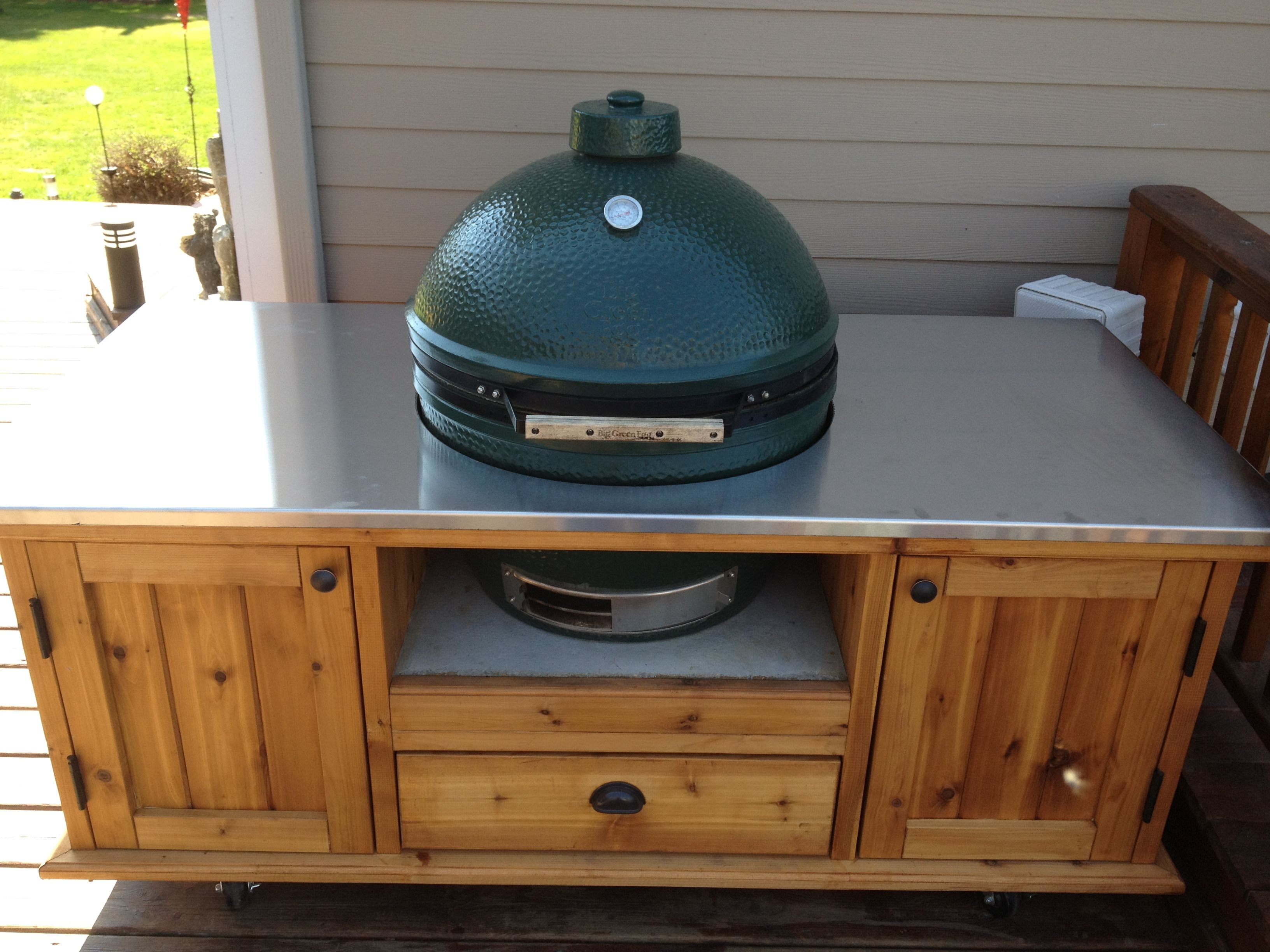 My Extra Large Big Green Egg With Custom Made Cabinet And