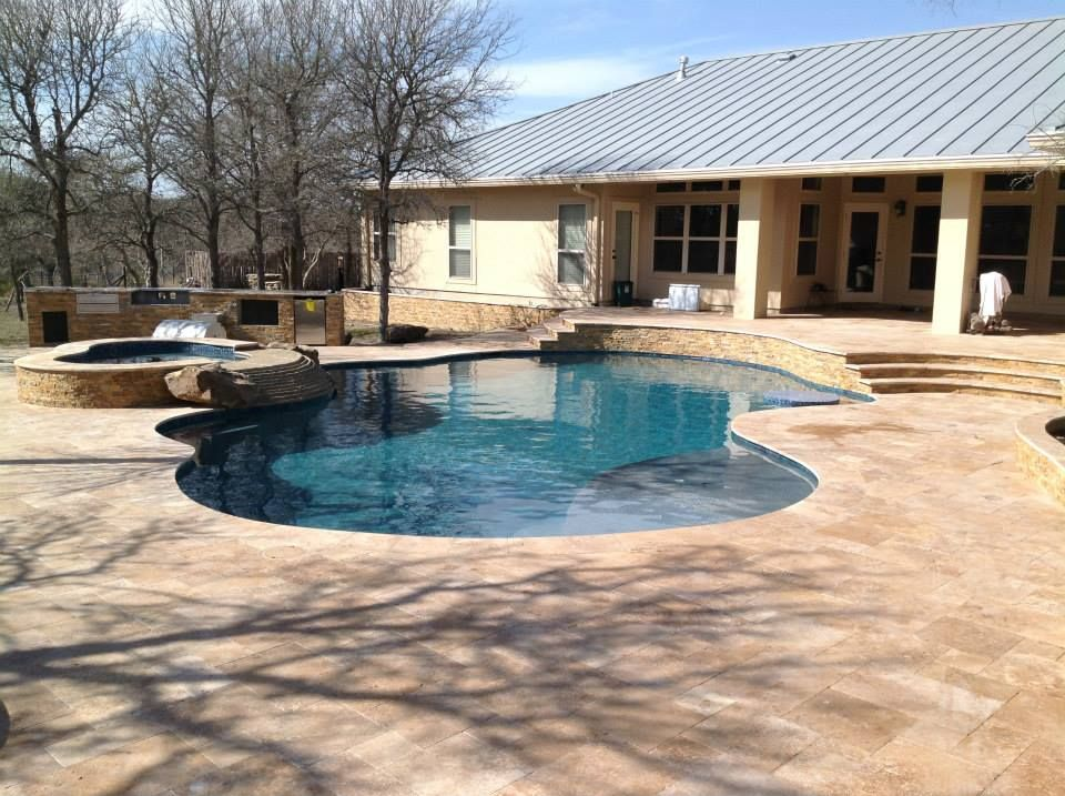 Patio Steps Down To The Pool And Elevated Spa There Is A