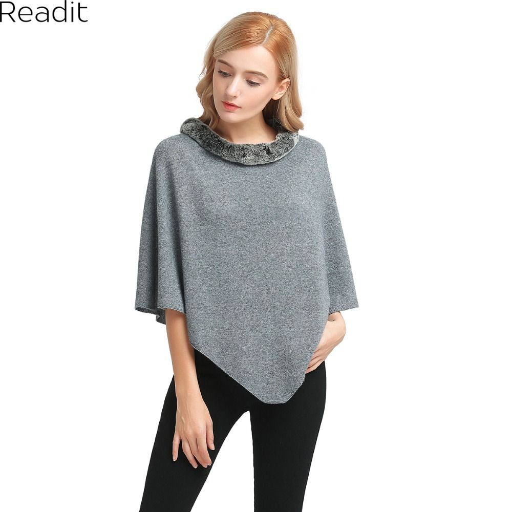 9ea0cfb42 Cheap knitting poncho, Buy Quality sweater women autumn directly from China  women poncho Suppliers: Readit Winter Womens Poncho and Cape Fur Collar  Poncho ...