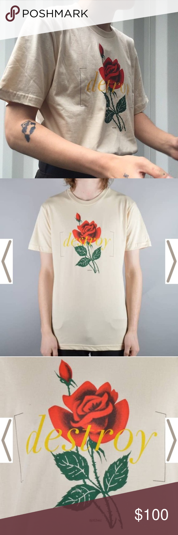 ISO DESTROY ROSE SHIRT ISO DESTROY ROSE SHIRT Urban Outfitters Tops Tees - Short Sleeve