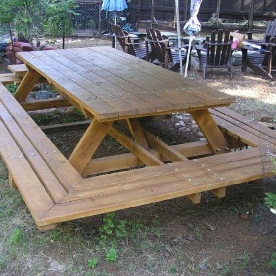 Custom made custom made large thru bolt picnic tables for Floating bench plans