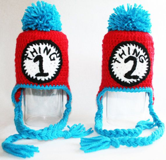 Dr. Seuss themed Thing 1 - Thing 2 Crochet Earflap Beanie Baby Hats ...