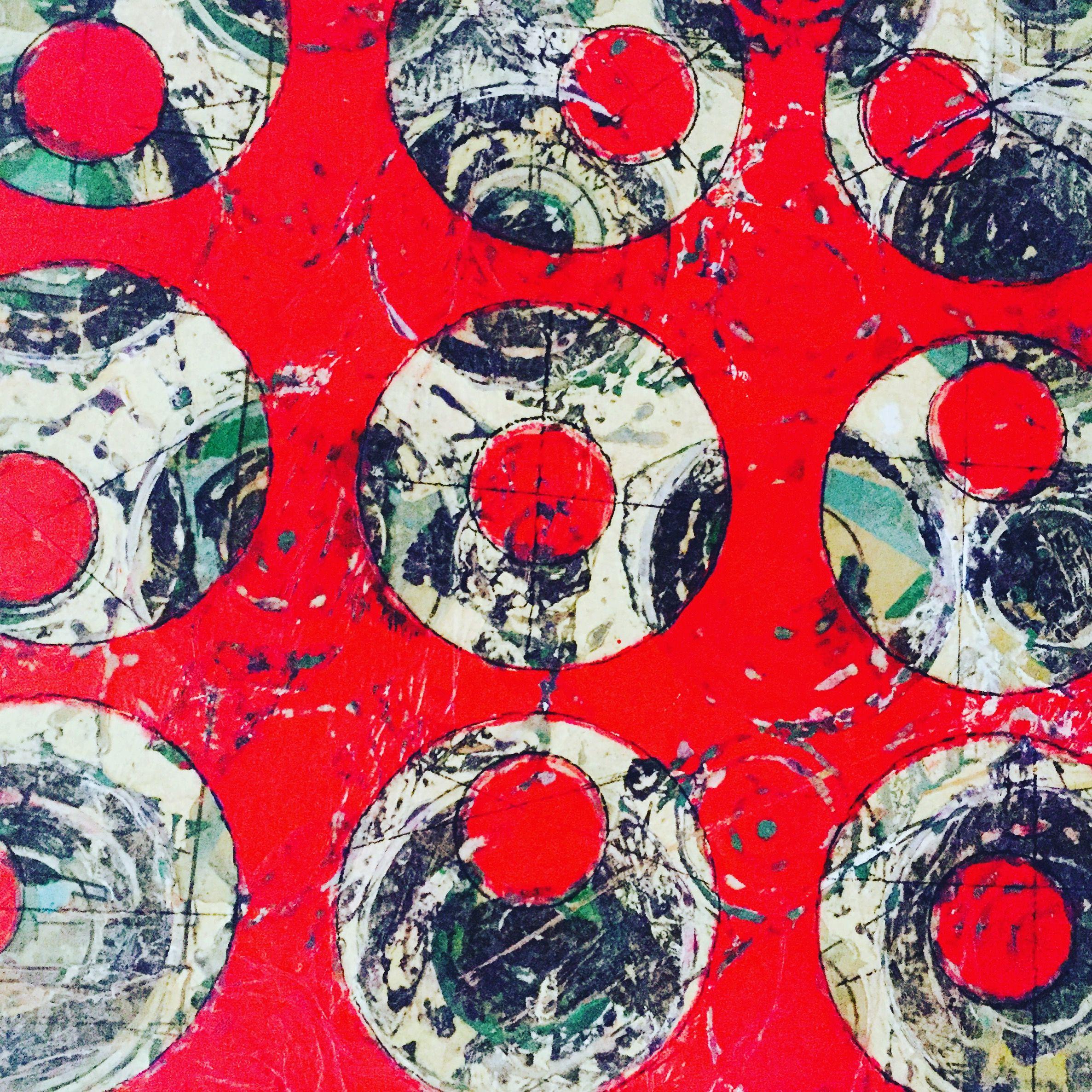 "Rio Rojo  Acrylic Abstract on wood 20""x 24"" By Artist Cristina Sayers 2016"