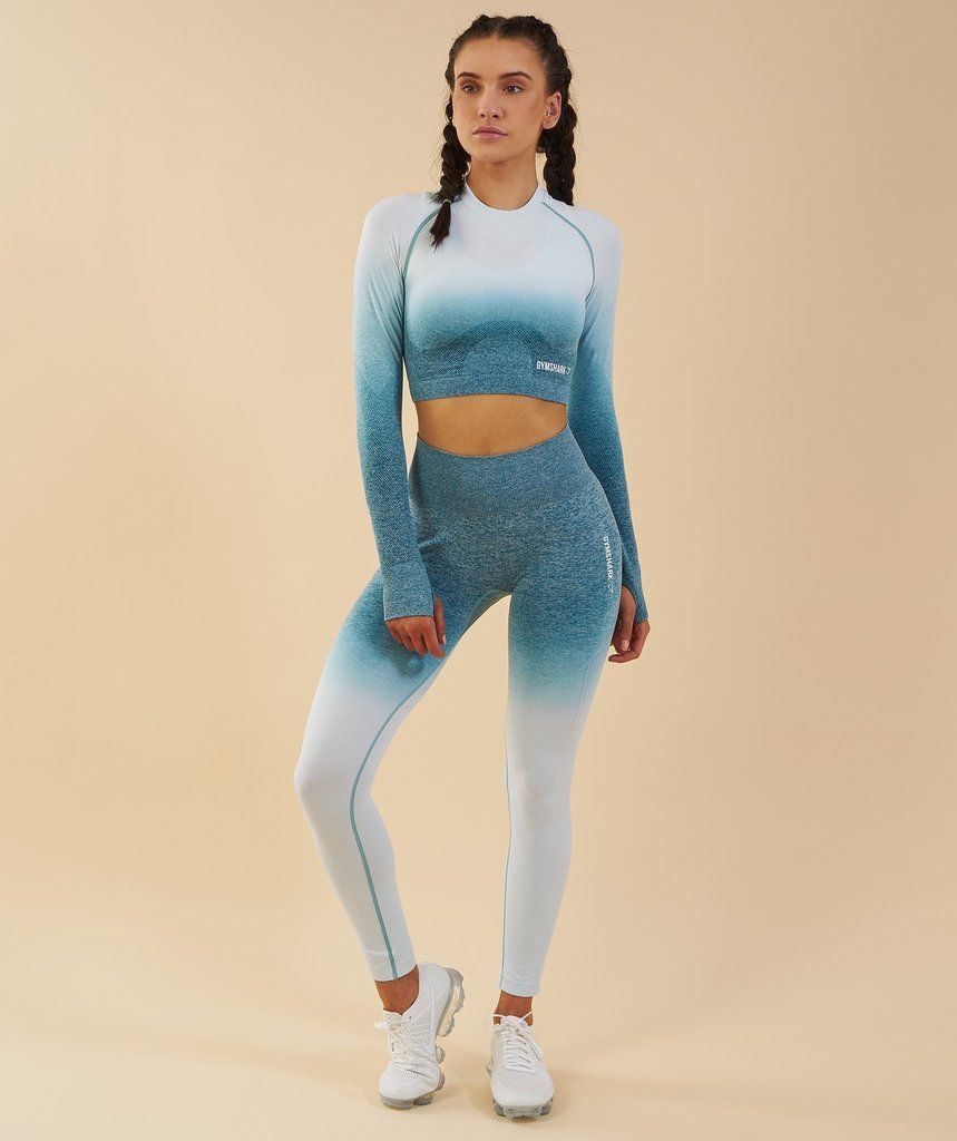 86370bbf7a708 Gymshark Ombre Seamless Crop Top - Deep Teal/Ice Blue | New Releases |  Gymshark