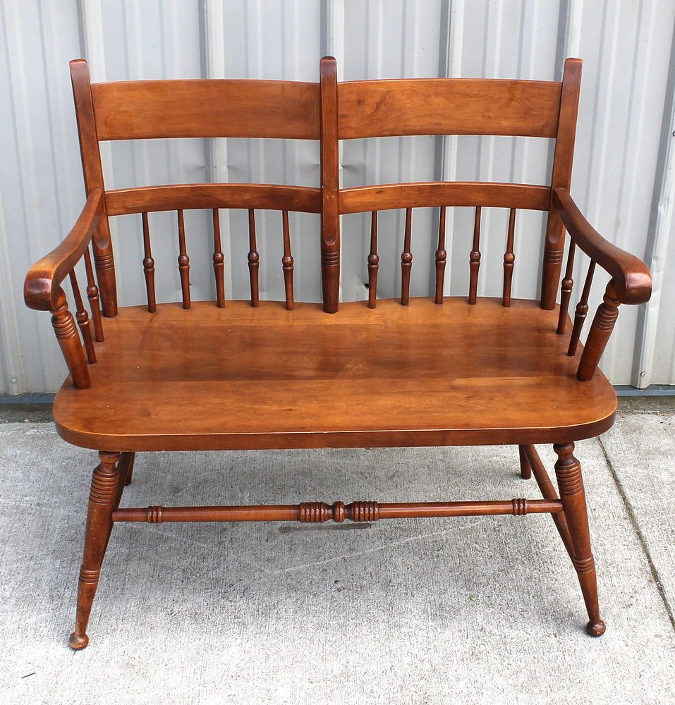 1950 60s tell city 2 seater fire side maple bench seat chair 43 1950 60s tell city 2 seater fire side maple bench seat chair 43 andover finish sciox Gallery