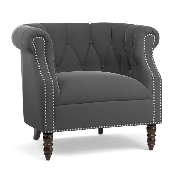 Handy Living Chesterfield Grey Velvet Arm Chair | Overstock.com Shopping    The Best Deals