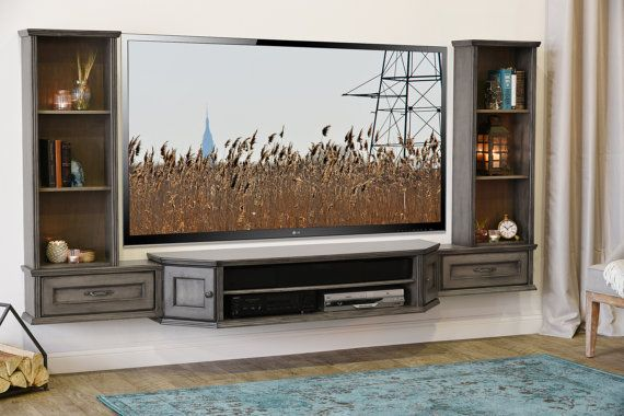 Wall Mounted TV Stand Entertainment Console Vintage 3 Piece