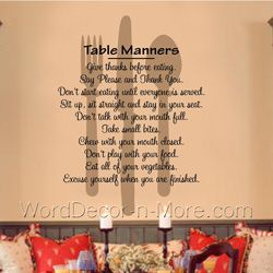 Table Manners Kitchen Dining Room Wall Words