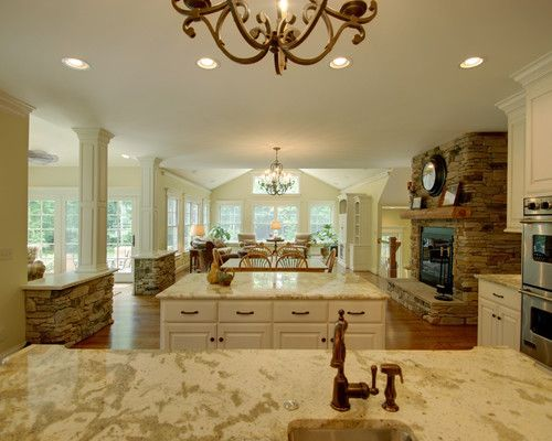 Quiet Casual Home: View from Kitchen into Living Spaces - traditional - kitchen - other metros - Richard Taylor Architects
