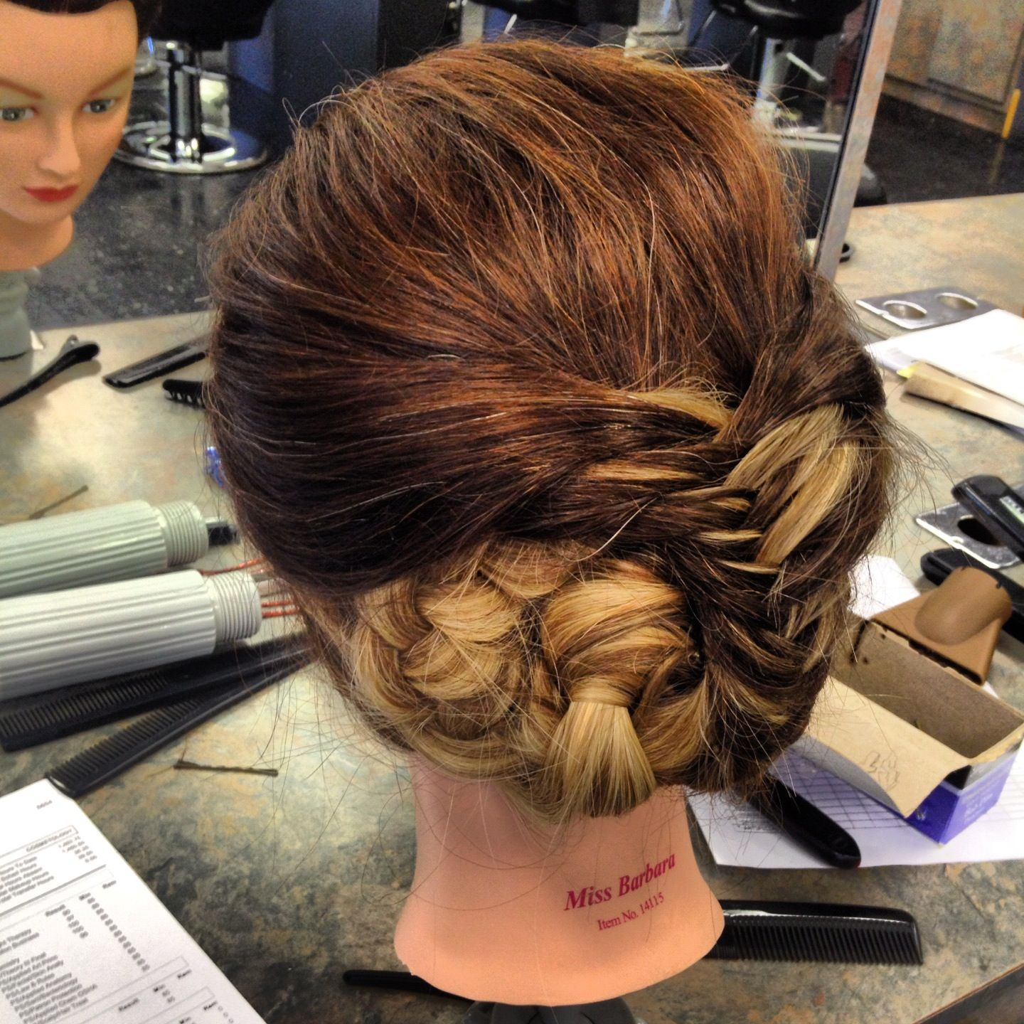 braided updo no curls My Work Pinterest