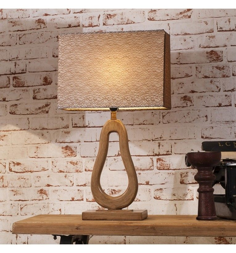 Unique Retro Shaped Lamp In A Neutral Woodtone Finish And Delicate Textured Shade Lamps