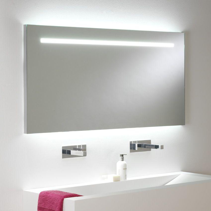 Miroir lumineux LED intégré + éclairage up & down | salle de bains ...