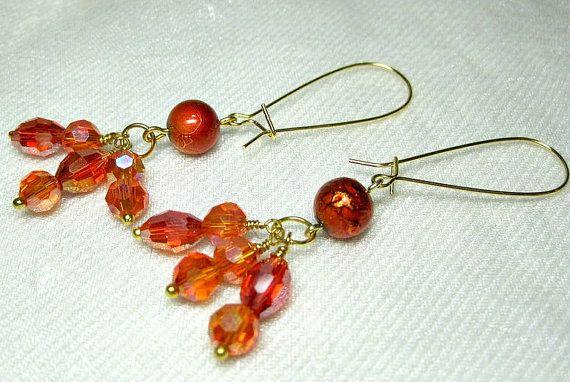 Orange Crystal Beaded Earrings handmade bead by HettyMarie