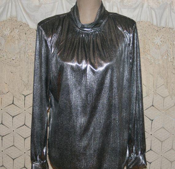 17e7377ffcc123 90s Silver Metallic Top Dressy Tops Mock by MagpieandOtis on Etsy ...