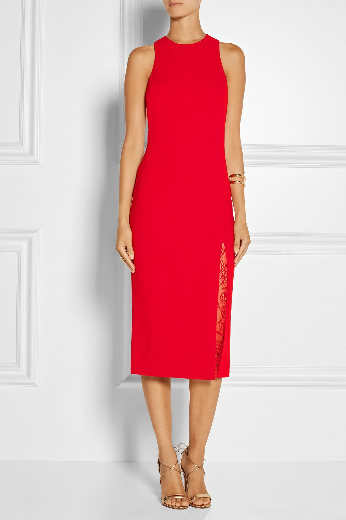 Tamara Mellon red with lace details dress
