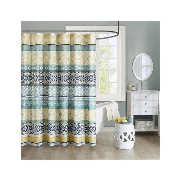 Intelligent Design Arissa 100% Microfiber Printed Shower Curtain (34 CAD) ❤ liked on Polyvore featuring home, bed & bath, bath, shower curtains, green, striped shower curtains and green shower curtains