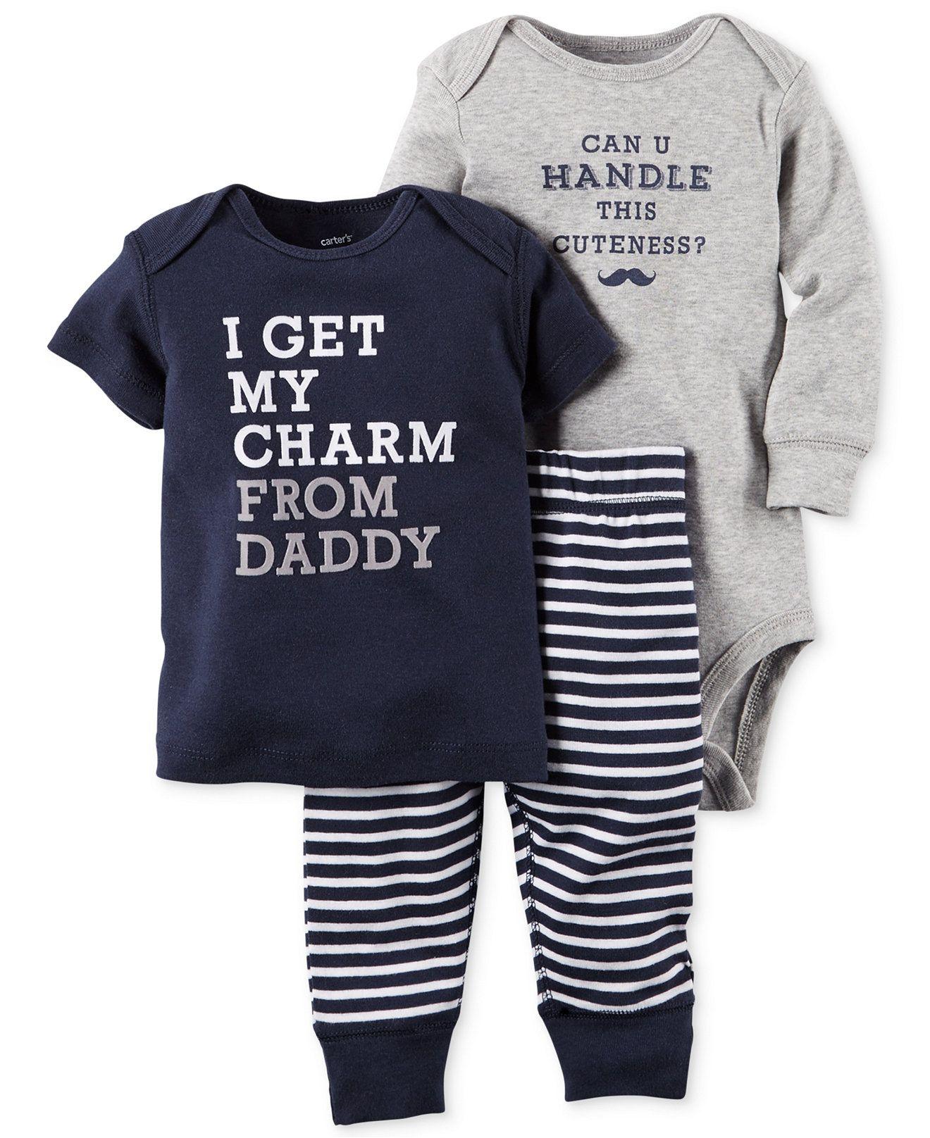 Carter s Baby Boys 3 Piece Tee Bodysuit & Pants Set Baby Boy 0