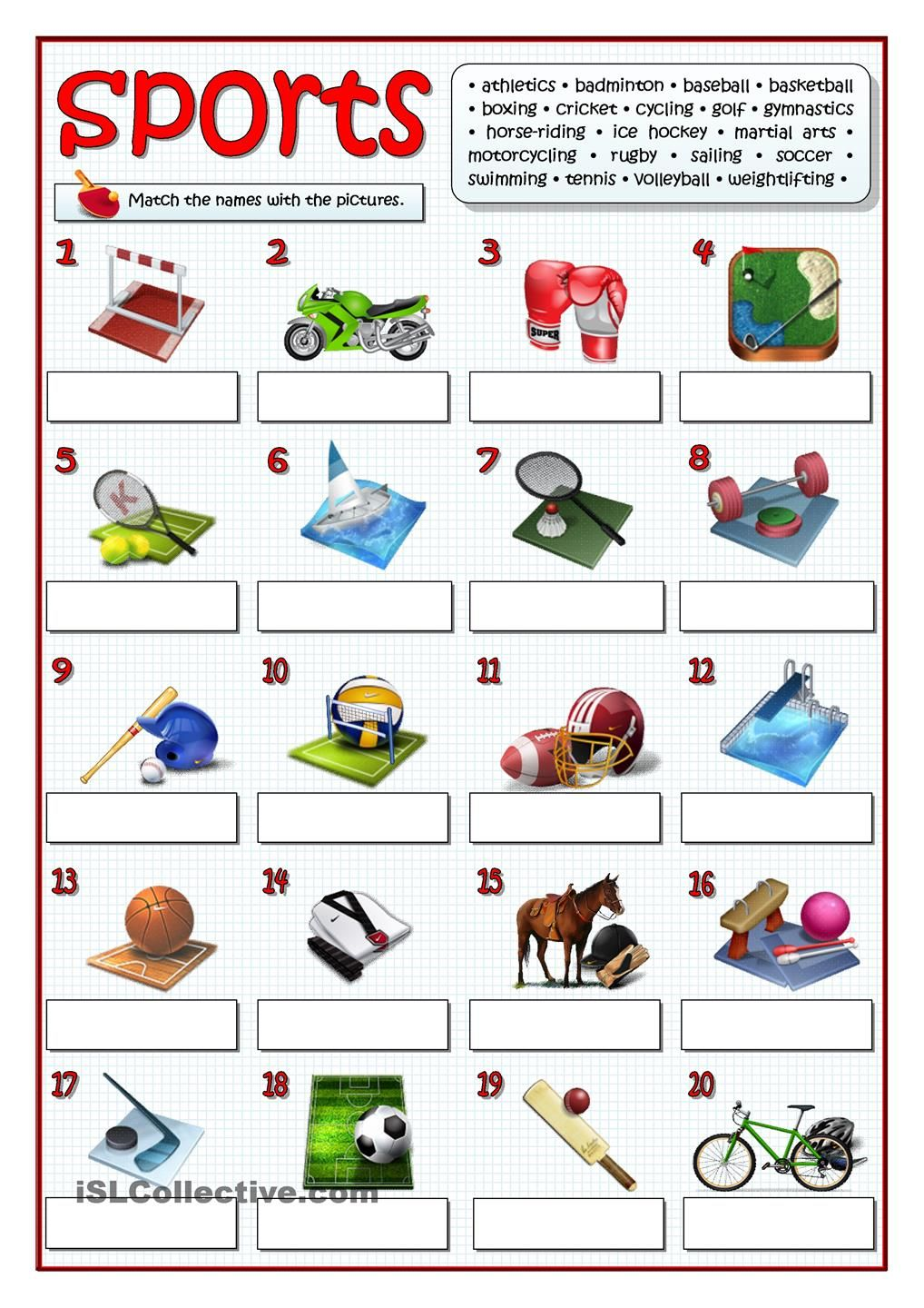 TWENTY SPORTS | English worksheets | Pinterest | English ...