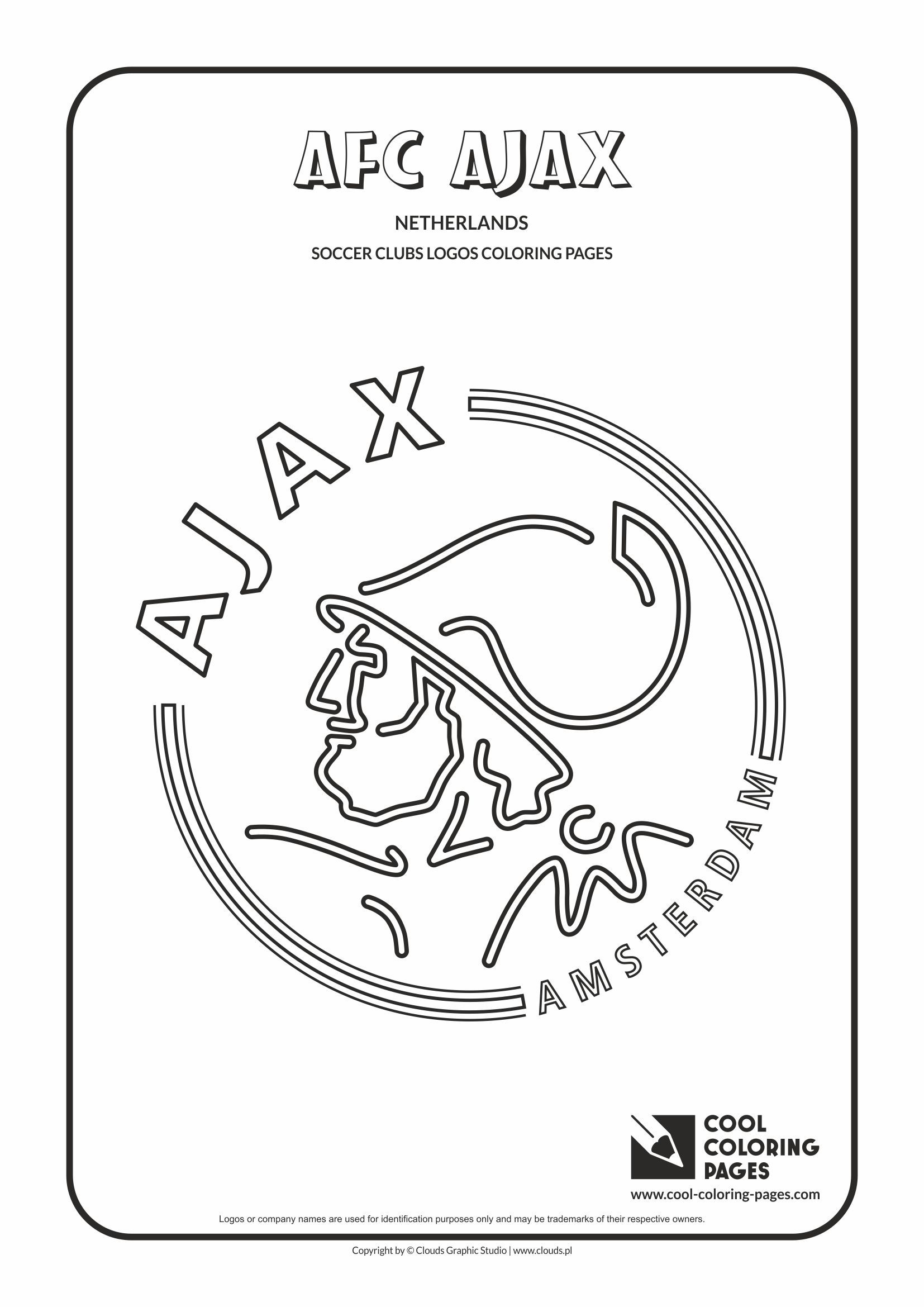 Cool Coloring Pages Soccer Clubs Logos AFC Ajax logo Coloring page with AFC