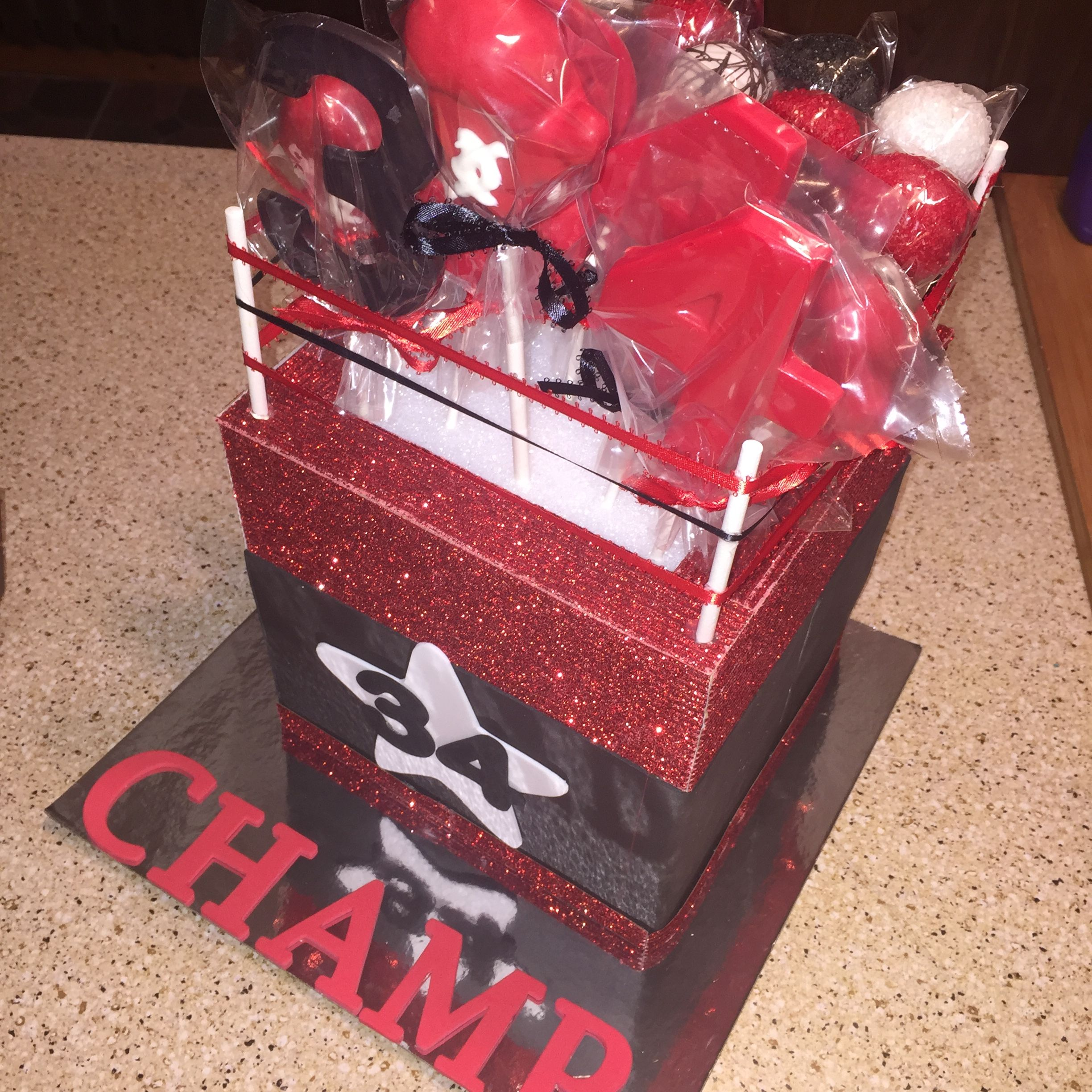 Boxing Glove Cake Pops And Ring Display Stand
