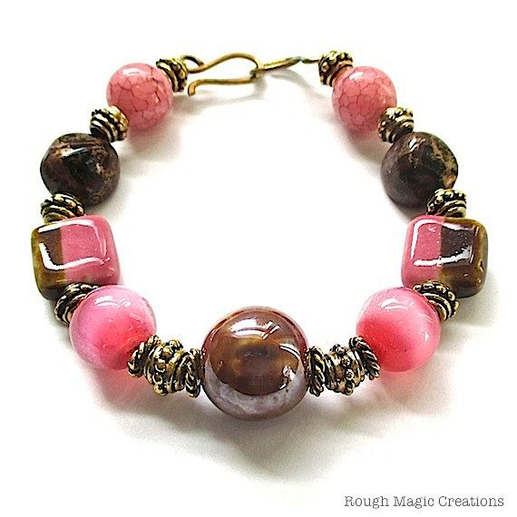 Caramel Cat S Eye Ring Diamontrigue Jewelry: Chunky Bracelet Eclectic Pink And Brown Beads By