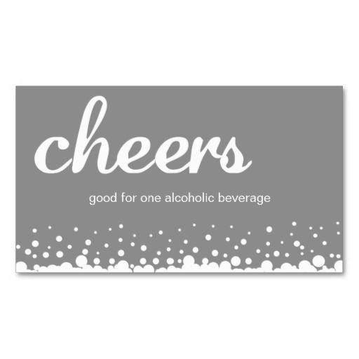 drink token template - gray cheer bubble wedding custom bar drink ticket bar