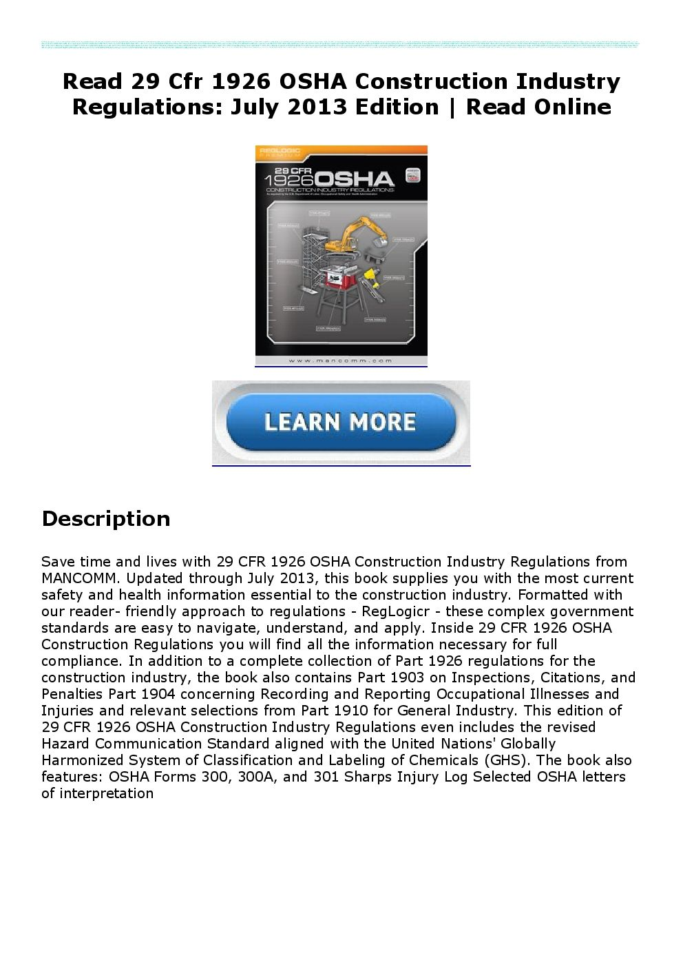 Read 29 Cfr 1926 OSHA Construction Industry Regulations