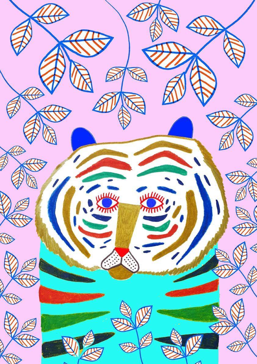 Cute Tiger . children's decor girls nursery decor kids art ...
