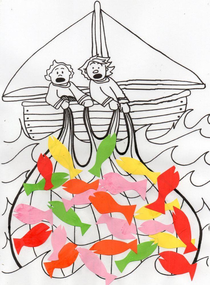 Menschenfischer Bible Craft einfach. Kinder kleben farbigen Papierfisch auf die ... - -