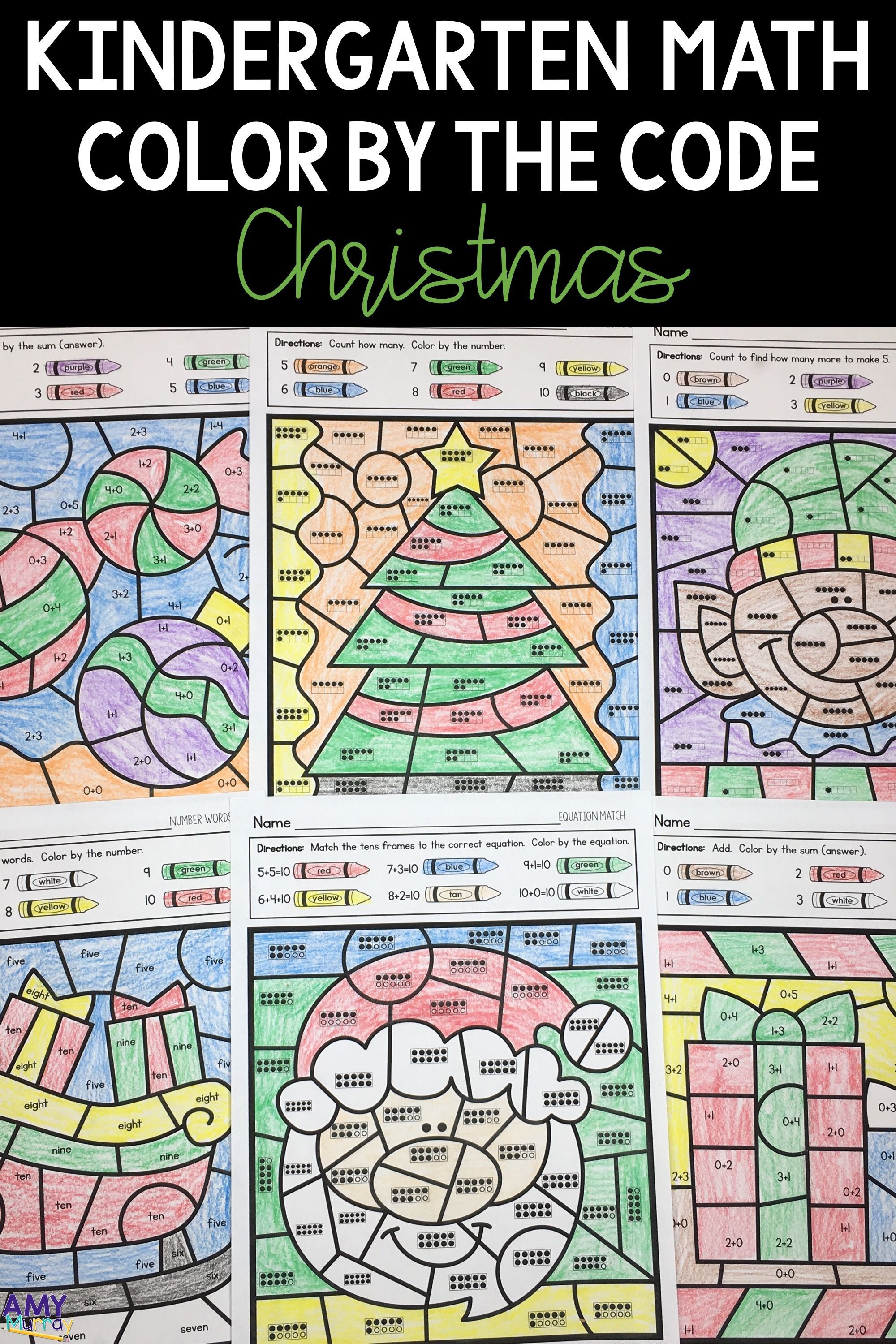 Christmas Color By Number Kindergarten Math Worksheets
