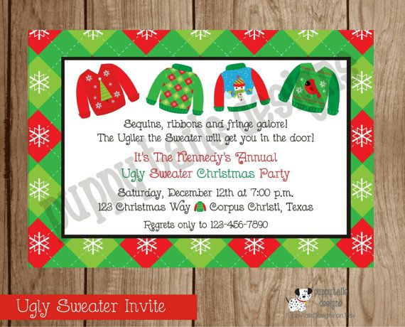 Custom Printed Ugly Sweater Christmas Party by PuppyTailsDesigns