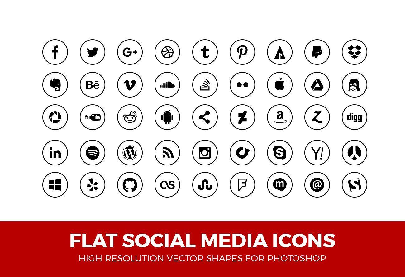 Social Media Icons Circle Line Blk Social media icons