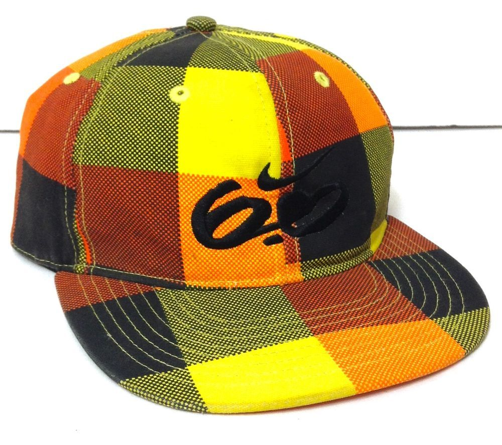 Youth Boys Size 8-20 NIKE 6.0 PLAID CHECKERED HAT Bright Orange Yellow  Geometric  Nike  BaseballCap 95f8ff91d316