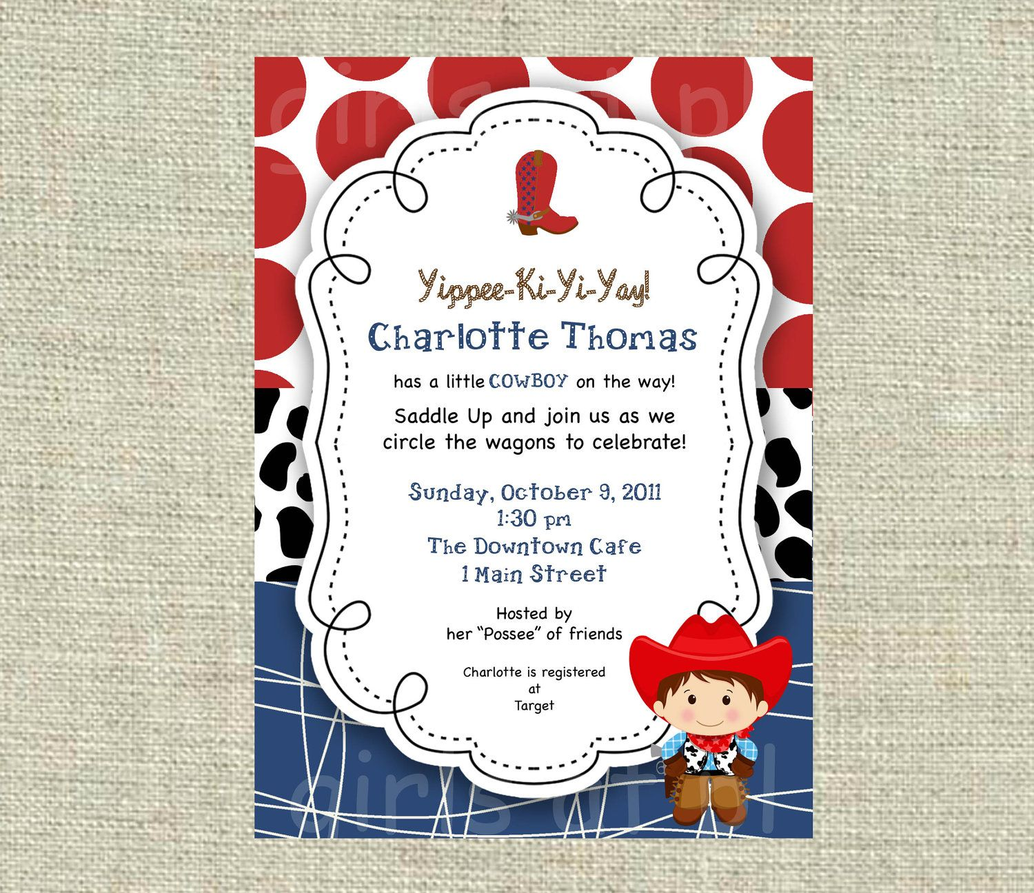 Baby Shower Cowboy Cowgirl Boy Invitation Texas Western Birthday ...