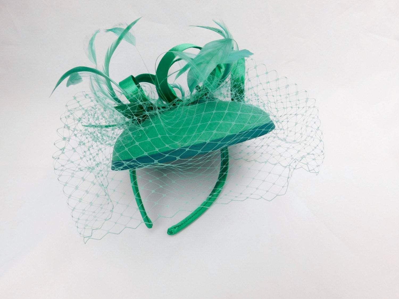 Fascinator, Green Fascinator with Veil, Womens Tea Party Hat, Church Hat, Derby Hat, Fancy Hat, Ivory Hat, wedding hat, British Hat Gallery
