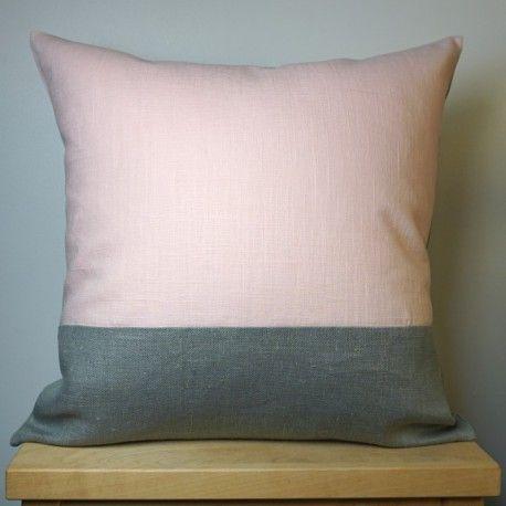 Coussin Gris Et Rose En Lin 40x40 Cm Bed New Beds Throw Pillows